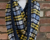 Blue and Yellow Plaid Cowl, Plaid Cowl, Blue and Yellow Infinity Scarf, Plaid Infinity Scarf, Women's Cowl, Women's Infinity Scarf, Cowl