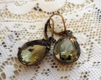 Slate Gray Black Diamond Wedding Earrings, Bridal Earrings, Vintage Rhinestone Pear Earrings, Statement Earrings Estate Style,Bertha Louise
