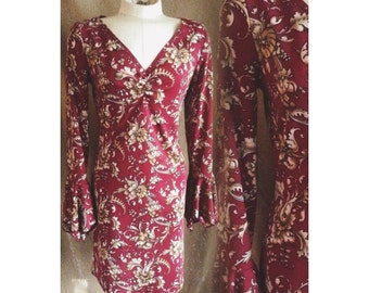 Vintage paisley mini dress with bell sleeves