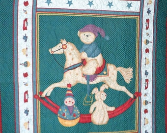 Quilt - Quilted Baby Blanket - Baby Quilt - Gender Neutral Baby Quilt for Boy or Girl - Rocking Horse Bear