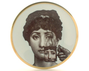 "Vintage Altered Porcelain Plate 7.48"" Face Lina Cavalieri Woman Coffee Cup Gold Rim Romantic Surrealism Dishware Housewarming Wedding Gift"