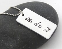 Triathlon Necklace Swim Bike Run - Personalized - 70.3 140.6 Do you TRI Ironman Ironwoman Athlete Birthday Christmas