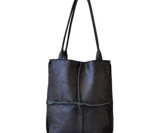 SALE-black leather tote bag, black leather shoulder bag, black women's bag, black everyday bag