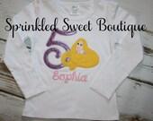 Princess Tangled Rapunzel Birthday Monogram Applique Custom Character Shirt Girls First Disney Trip Glitter Birthday Ruffle Shirt