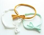 Skinny Bow Tie Headband Trio - Baby Headband - Jersey Headband