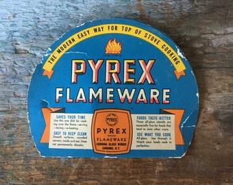 Vintage Pyrex Flameware Label • Ephemera