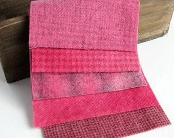 "Hand Dyed Felted Wool Fabric in Rose, Fuchsia, and Pink  5"" x 5""  Wool Charm Pack of 5"