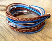 Boho Leather Wrap Bracelet Yoga Inspired 3X Leather Wrap