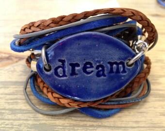 Leather Wrap Inspirational Boho Ceramic Bracelet