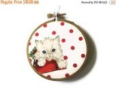 CLOSING SALE - Kitten Christmas Ornament Embroidery Hoop - Holiday Ornament - White Kitten on Red Dots - Last White Cat Available