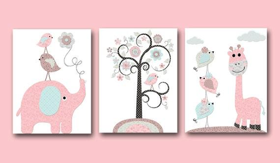 Grey Girl Wall Decor : Pink grey blue brown baby girl wall decor canvas nursery print