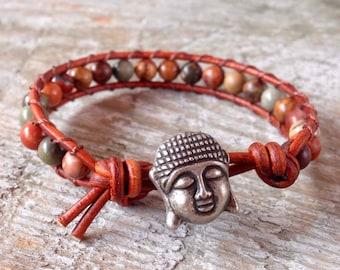 buddha beaded leather wrap bracelet brown yellow red and gray jasper gemstone yoga jewelry guys and girls