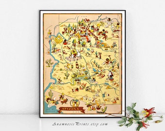 ARIZONA MAP PRINT - vintage picture map to frame - perfect housewarming or wedding gift - three sizes available - fun vintage wall art