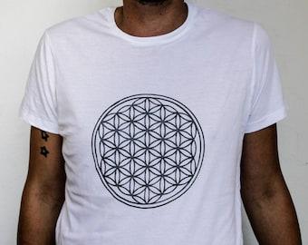 MENS White printed flower of life t shirt
