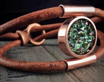 Leather and Copper Bracelet - Bismuth Crystal - Unisex Bracelet - Gift for Scientist - Groomsmen -Father's Day Gift -Unique Bracelet for Him
