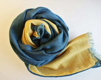 Natural Indigo and Bayberry dyed Wool Linen scarf - a warm gift for someone special