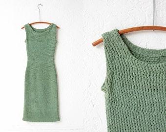 Green Crochet Body Con Maxi Dress
