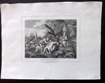Hogarth & Cook 1808 Antique Print. The Good Samaritan
