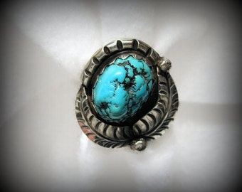 Vintage SOUTHWESTERN Turquoise NUGGET Ring in Sterling Silver -- Size 8, Unsigned