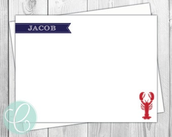 Boys Stationery - Preppy Lobster - Flat Note Cards- Set of 12 - Nautical Navy Red