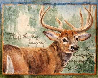 deer stag original watercolor painting