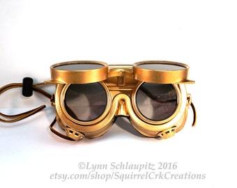 Gold Steampunk Goggles!  Cosplay, Steampunk costume, Steampunk goggles, Larp, Masquerade, Costume, Goggles, Airship, Airship Captain