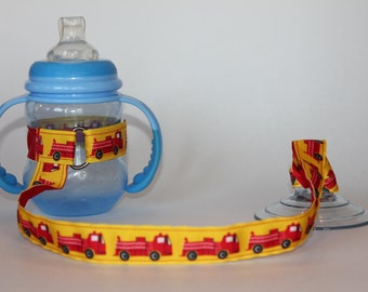 Sippy Cup Leash | Sippy Strap | Sippy Cup Strap Suction Cup | Bottle Tether | Sippy Cup Strap | Suction Sippy Strap | Fire Trucks