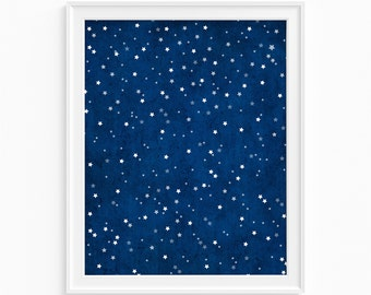Starry Night art print.  Starry night wall art. Astronomy art. Nursery art. Home decor.