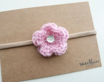 Any Color--Sparkle Flower Headband--One size fits most--Baby Girl accessories--Crochet--Spring-Easter--Sweetlace Shop