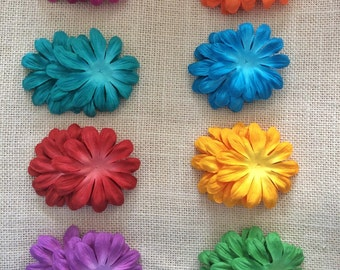 Recollections™ Floral Embellishments: Dimensional Paper Flowers. Set of 32. Eight bright colors.