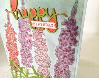 Set of 2 large cards - hollyhocks - embossed - birthday cards - handmade greeting cards