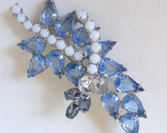 Vintage 1950's Blue Teardrop and White Rhinestone Crystal Leaf Pin