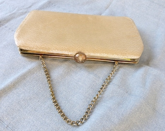 Vintage 1960's Metallic Gold Brocade Frame Clutch/Purse with Chain Handle