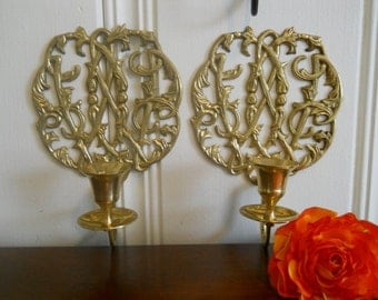 Solid Brass Wall Sconce Candle Holders Set Wedding Hollywood Regency