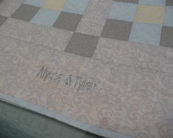 "Personalized wedding quilt, custom wedding gift quilt, 72"" x 60"" Wedding keepsake quilt, wedding gift."