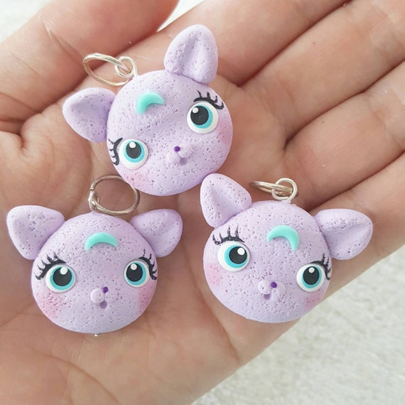 Cute Moon Kitty Polymer Clay Charm, Kitty Polymer Clay Pendant, Cat, Purple,  Charm, polymer clay, clay pendant, Kawaii, Chibi, Clay Charm