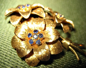 Tiffany Vintage Gold and Sapphire Flower Brooch