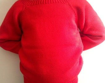 Children knitted Red Jumper/Baby Knitwear/Knitted wool Sweater/Baby knit jumper/Red knitted pullover/Knitted Clothes/Knitted kidswear