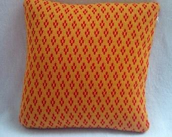 Knitted Cushion/Red & Gold Pillow/Nursery Cushion/ Pillow/Chevron Pattern Cushion/Decorative cushion/Throw cushion/ Pillow cover