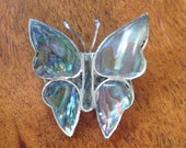 Vintage Butterfly Brooch, Mother of Pearl and Alpaca Silver Pin