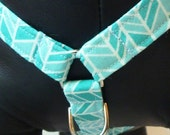 """Sale 40% Off Dog Harness - Traditional NO PULL Front D-Ring Harness - You Choose a Fabric from Collar Section """"Sea Glass"""""""