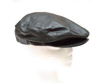 80s Black Genuine Leather Newsboy Cap Hat Women's Large
