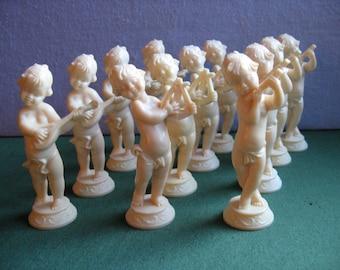 12 Wedding or Shower Cake Toppers Vintage Wilton Cheub Putti Musician 1974 Decorations One Dozen 3 Designs