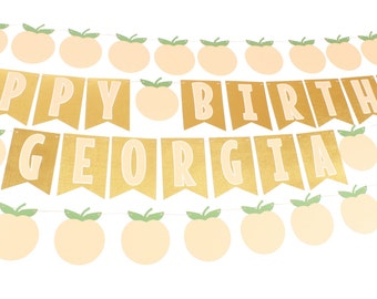 Peach Birthday Banner - Peach and Gold Birthday Banner - Peaches and Cream Birthday Banner - Georgia Peach Birthday Banner - Peach and Gold