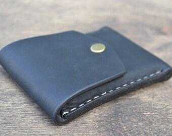 Leather Wallet-Men Wallet-Leather Card Holder Leather-Handmade Black
