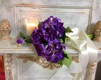 HYDRANGEA BRIDAL BOUQUET, Arm Bridal Bouquet,  Beautiful Purple Hydrangeas,Wedding Bouquet And Boutonniere, Two Piece Wedding,