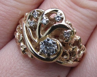 DEADsy LAST GASP SALE Unique Engagement Ring : Diamond & 14K Gold Cresting Waves /  Hokusaki Vintage Engagement Ring - size 5 to 6