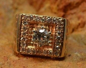 DEADsy LAST GASP SALE Sunset Boulevard : Vintage Antique 1 Carat Tdw Diamond Wedding Ring, Mid Century Mod - 1940s 1950s Engagement Ring