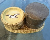 Vintage ceramic nautical coaster set, sea bird gulls, faux wood pier piling dish, rope trim, Duncan Enterprises, 1981