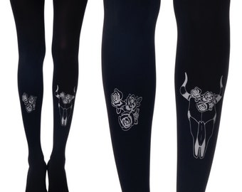 Rock Tights  White bull's head and roses print tights Printed Tights designed tights free shipping Rock Star Collection 2015-20166  F249-BGR